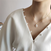 925 Sterling Silver Jewelry Natural Pearl Simple Fashion Elegant White Baroque Pearl Necklace Pendant For Women Fine Jewelry shiying a02304 fashion elegant artificial pearl acrylic pendant necklace black white blue