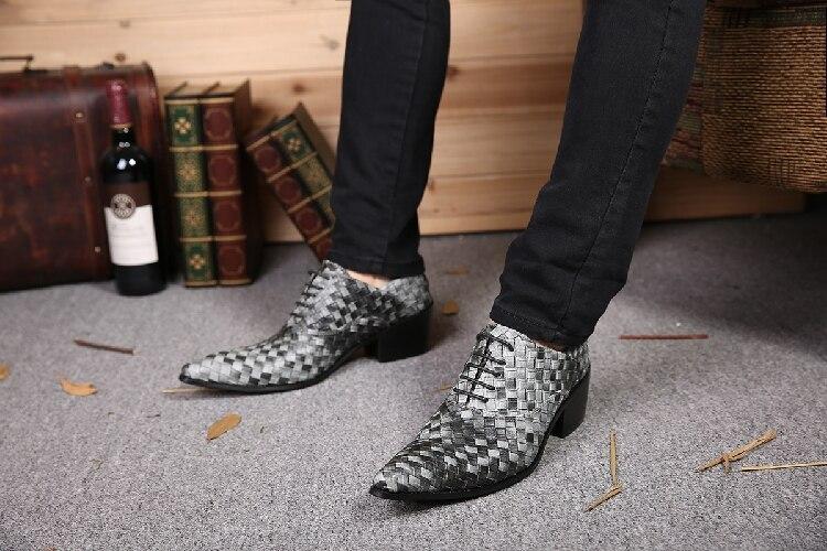 Nouveau Lacent Gris En Bureau Hommes Chaussure Cuir Homme Zapatos Pour Casual Oxford Mode Ardoisé Chaussures 2017 Pointu Bout ErrXqw