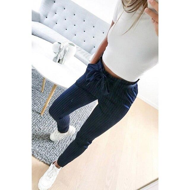 2019 New Striped OL chiffon high waist harem pants women stringyselvedge summer style casual pants female trousers 3