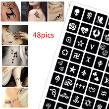 48 pics Henna Tattoo Stencils DIY Drawing Airbrush Mehndi Body Art Small Signets Sign 0-9 Tatoo Stencil Jagua Templates pics