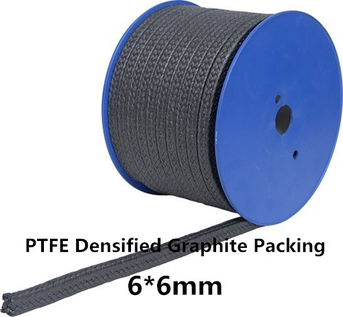 6*6mm Expanded Graphite Packing PTFE Filled 1KG /High Pressure PTFE Graphite Braided Gland Packing in Pump Valves Steam 50 50mm pure flexible graphite packing 1kg expanded pure graphite packing for valve