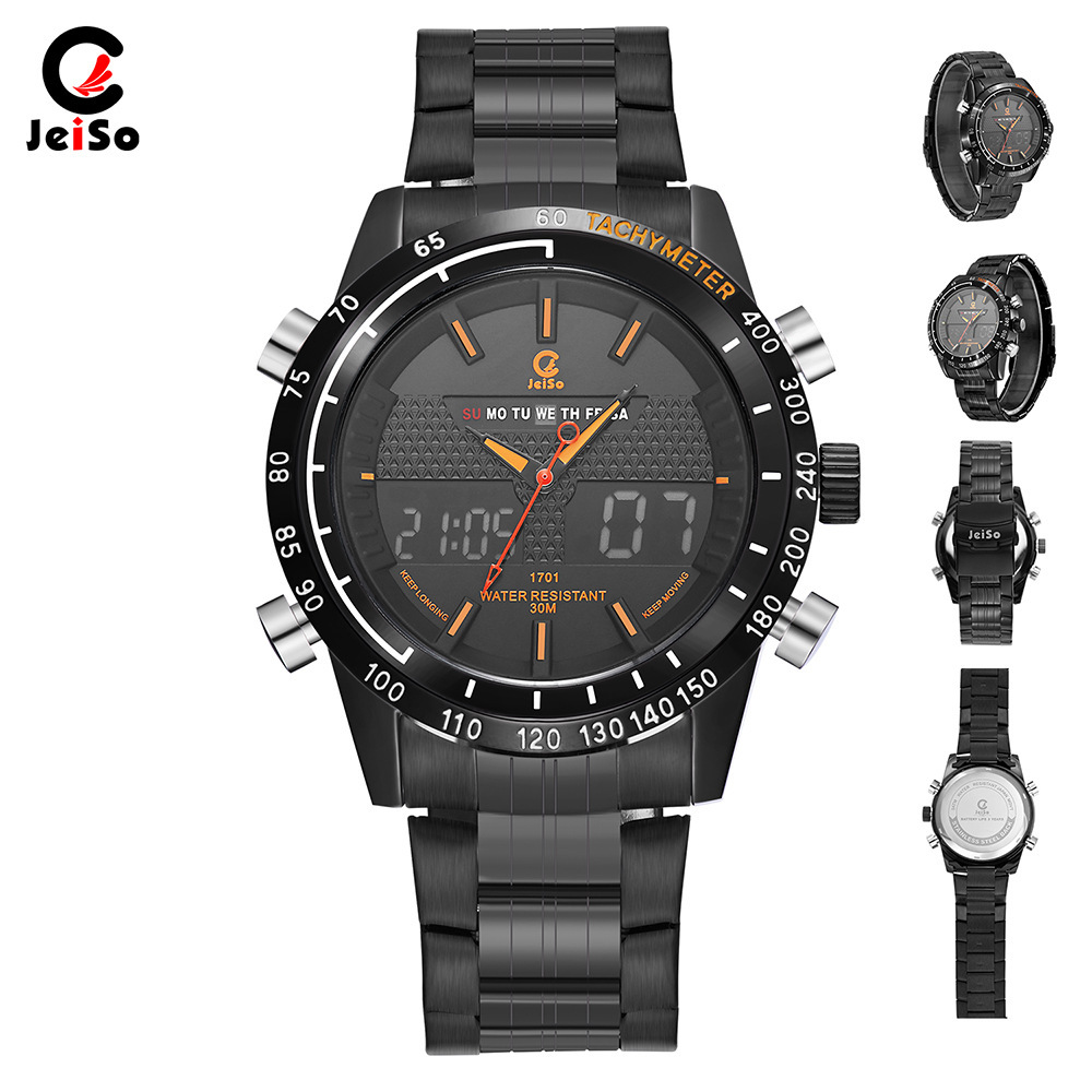 Men Watches Full Steel Man Quartz Hour Clock 2018 jeiso Analog LED Fashion digital Sport Military Wrist Watch Relogio Masculino iron man digital led steel band digital quartz wrist watch for man