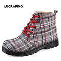2016 Fashion Retro Plaid Autumn ankle boots for women flat heel Cotton shoes woman platform Martin boot