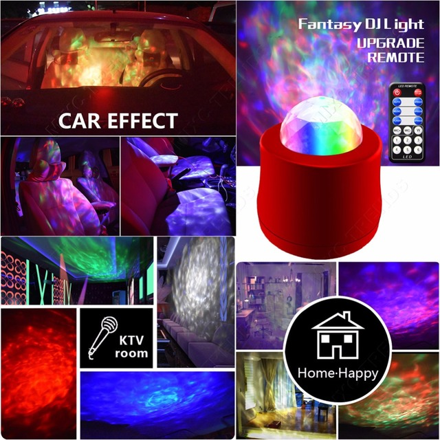Wireless Remote Music Car Interior DJ Stage Light Mini RGB USB Port Crystal Magic Ball Music KTV Disco Party LED Laser Lights  4