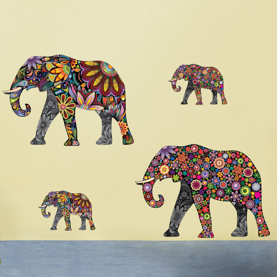 Colorful Elephant Flower Pattern Wall Sticker Removable Decal Home Decor Wallpaper Ethnic Unique Style PVC Living Room