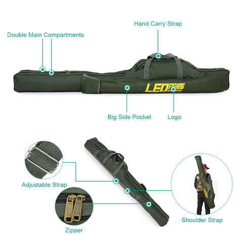 LEO 100cm/150cm Fishing Bags Portable Folding Fishing Rod Carrier Canvas Fishing Pole Tools Storage Bag Case Fishing Gear Tackle Lahore