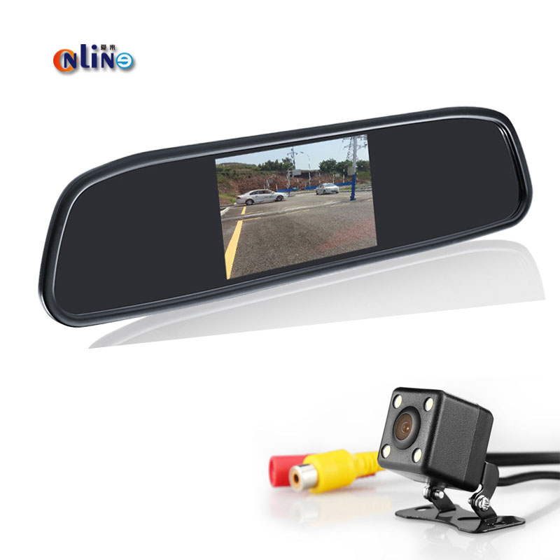 Online Car Accessories Waterproof CCD LCD Car Mirror Monitor Universal Reverse Camera With Monitor 4LED Car Rear View Camera
