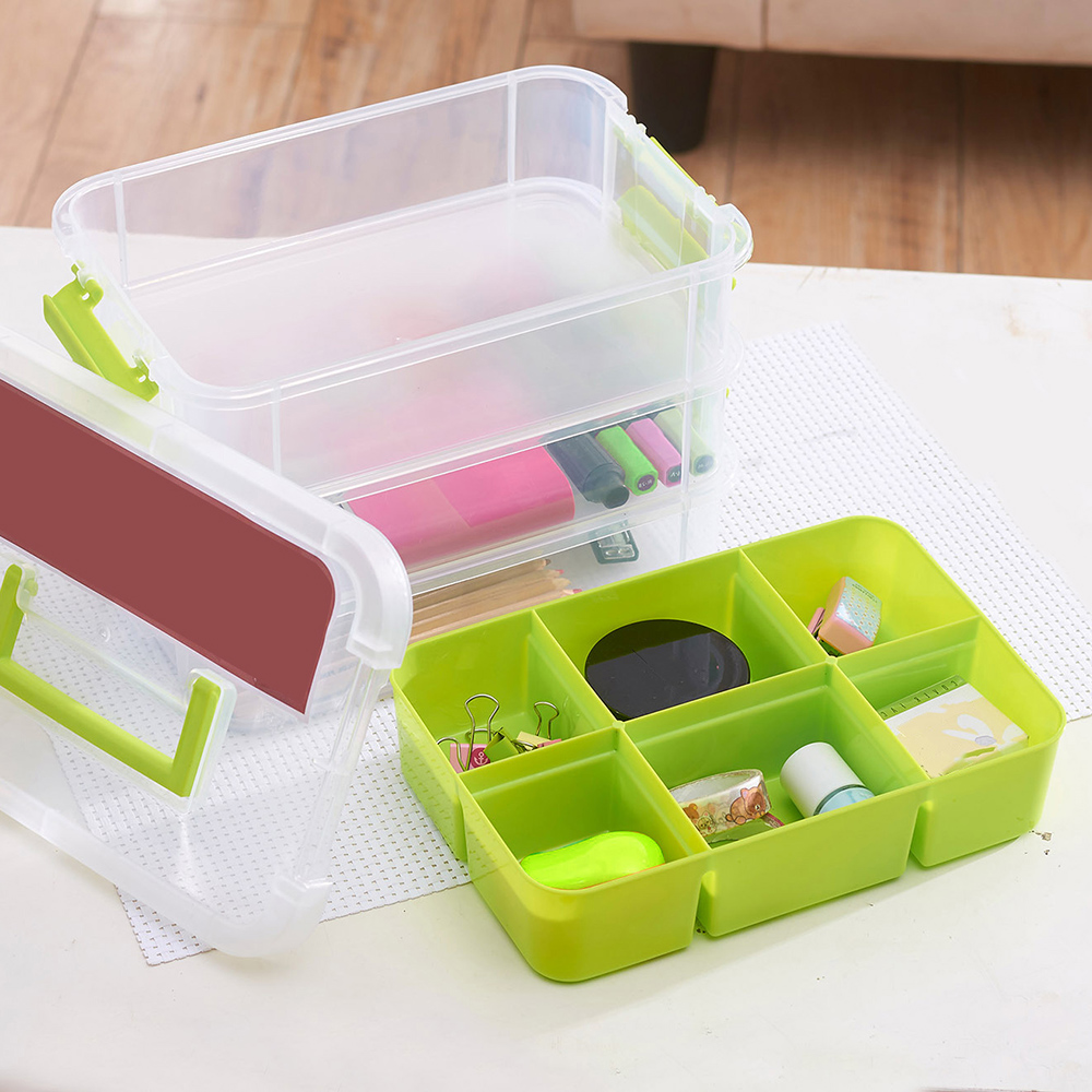 Three layers of removable plastic storage box transparent box plastic box tool box plastic storage box transparent