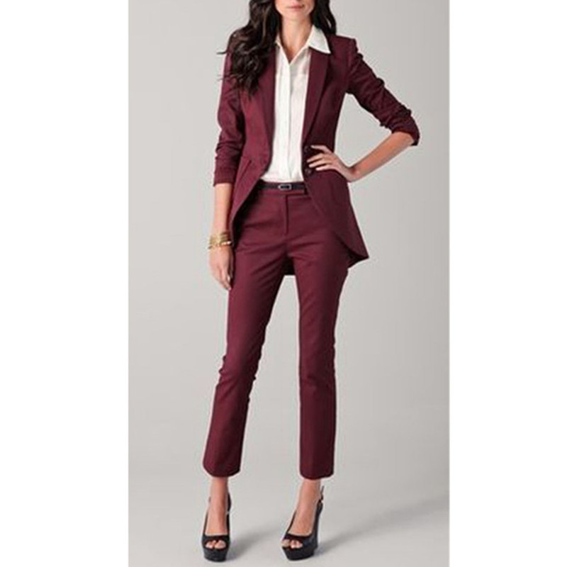Ladies Suit Dress Wine Red Fashion Women's Ladies Custom Business Office Dress Formal Overalls Suit Jacket + Pants