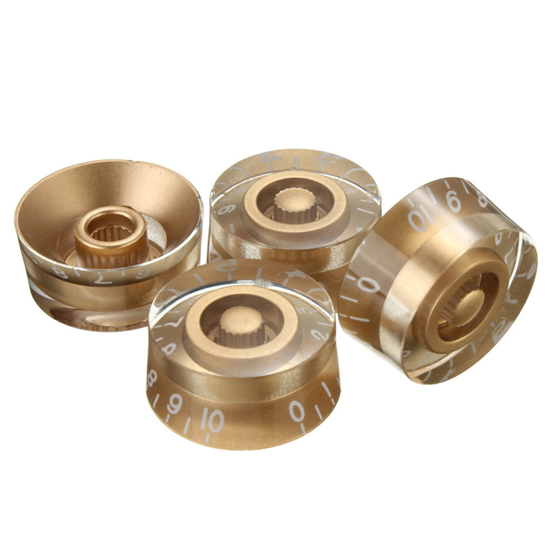 4pcs/Set Gold Speed Control Knobs Buttons Volume Tone For Electric Guitar Ukulele Parts Accessaries hot 3pcs steel chrome electric guitar bass tone volume speed control knobs dome top