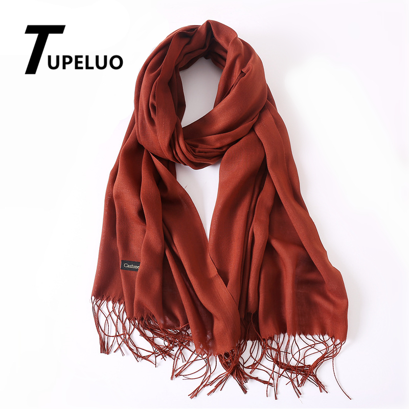 Classic Solid Color Winter Scarves Women Fashion Tassels Thin Headscarf Scarf Long Soft Pashmina High Quality Shawls Wraps Hijab