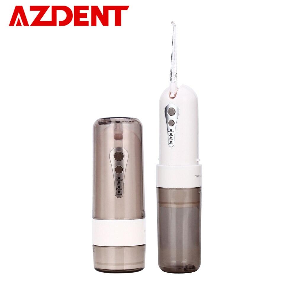 AZDENT di Modo 4 Modalità Portable Fold Elettrico Irrigatore Orale USB di Ricarica Acqua Flosser Dentale Ricaricabile 200 ml + 5 Jet punte