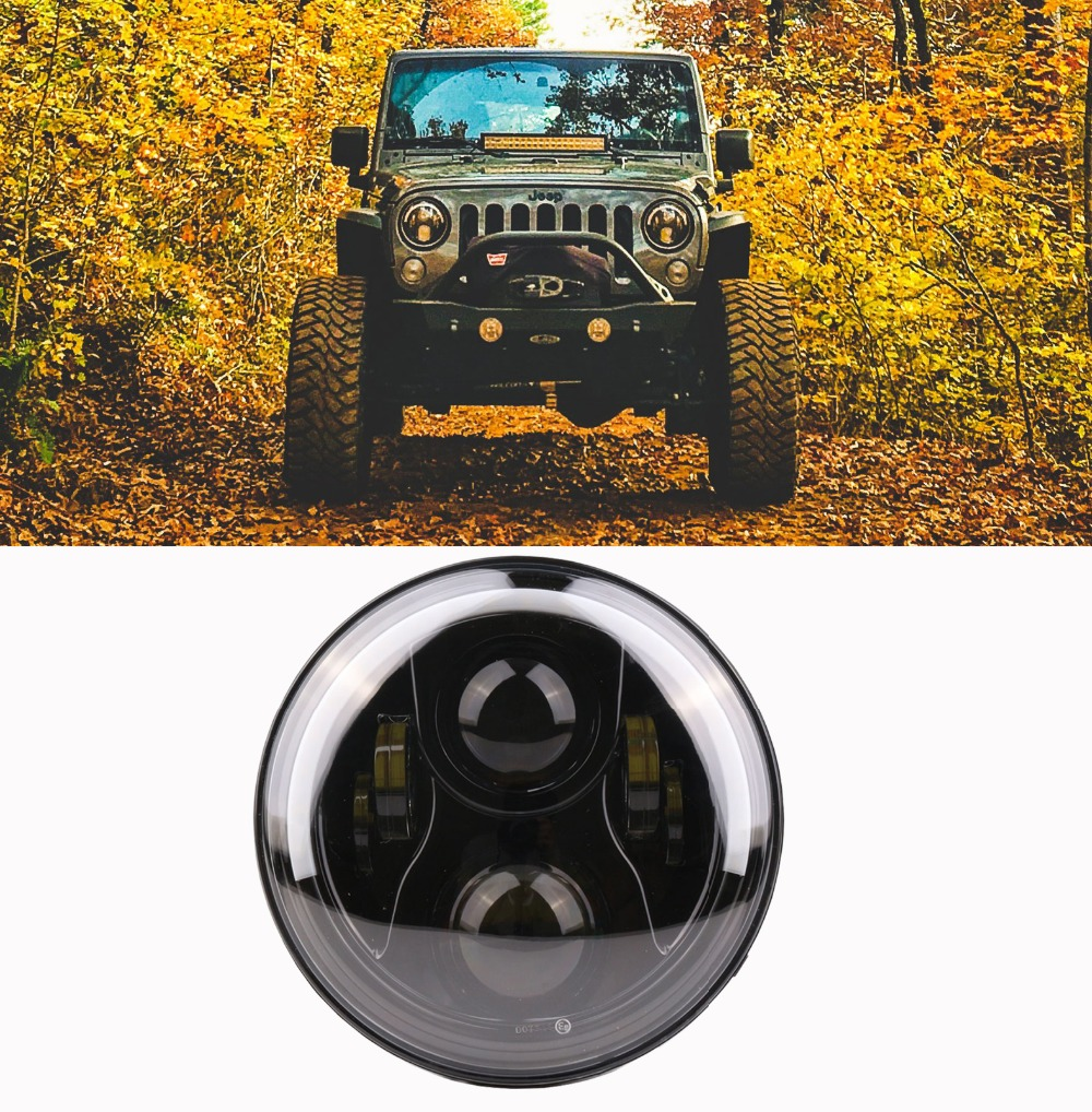 1piece Daytime running lights black and chrome 7 Inch Round H/Low lm LED Headlight For Lada 4x4 urban Niva For Jeep Wngler JK