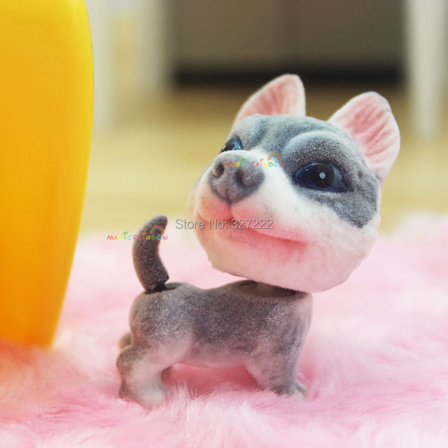 Entzückende Spielzeug Mini Siberian Husky Hund Welpen Puppe Bobble