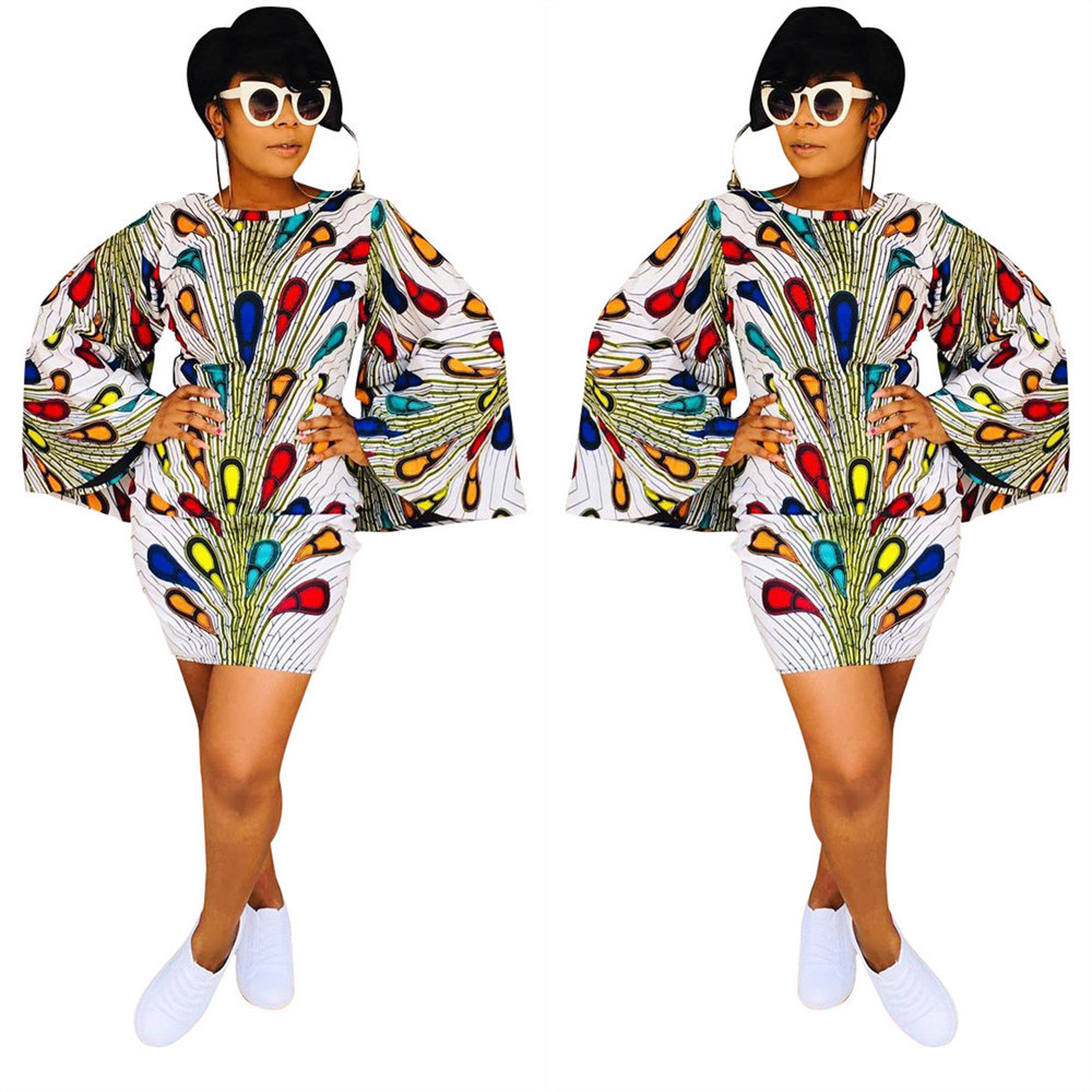 2019 New Arrival Summer Sexy  Style African Women Plus Size Printing Dress