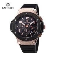 MEGIR Chronograph Sports Watches Men S Army Military Silicone Quartz Watch Waterproof Hours Clock Wristwatch Relojes