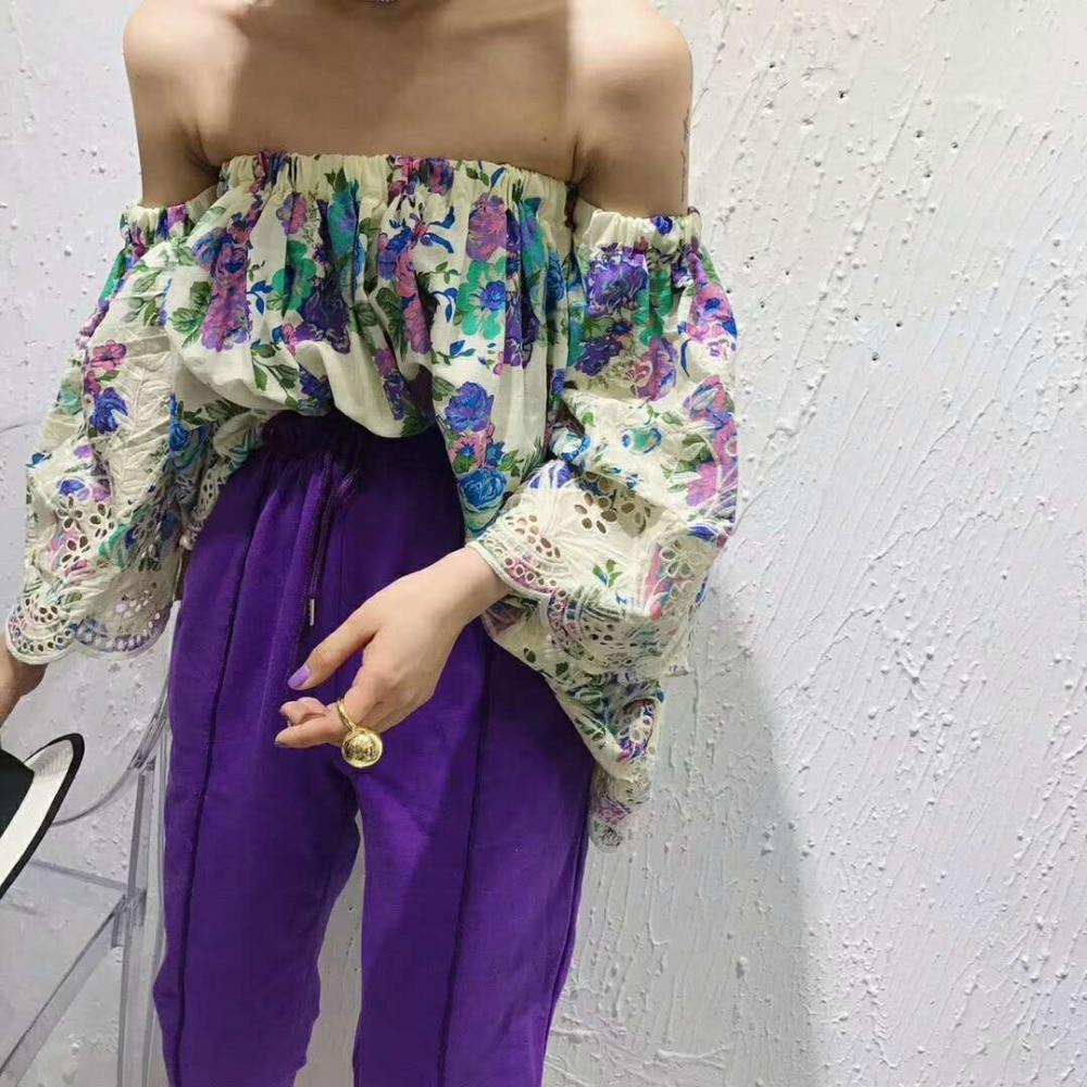 Cou Chemisier 3 Taille Coréen Sexy Neuf Slash Blanc 2018 marine 4 Hors Flare Bleu Femmes Manches Gy201896 Grande Gruiiceen Top Épaule Bq7YwB
