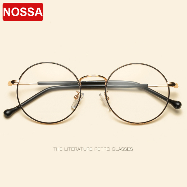 f0e279b45ef NOSSA Fashion Round Glasses Frames Trendy Eyewear Frames Men Women Retro  Optical Frame Casual Myopia Eyeglasses