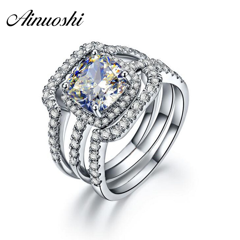 AINUOSHI Luxury Bridal Wedding Ring Set 925 Solid Sterling Silver 3 Carat Cushion Cut NSCD 3PC