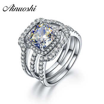 AINUOSHI Luxury Bridal Wedding Ring Set 925 Solid Sterling Silver 3 Carat Cushion Cut NSCD 3PC Women Engagement Halo Ring Set - DISCOUNT ITEM  38% OFF All Category