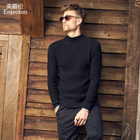 Enjeolon brand winter Turtleneck knitted pullover Sweaters men solid black grey warm sweater Man casual 3XL Sweater MY3215
