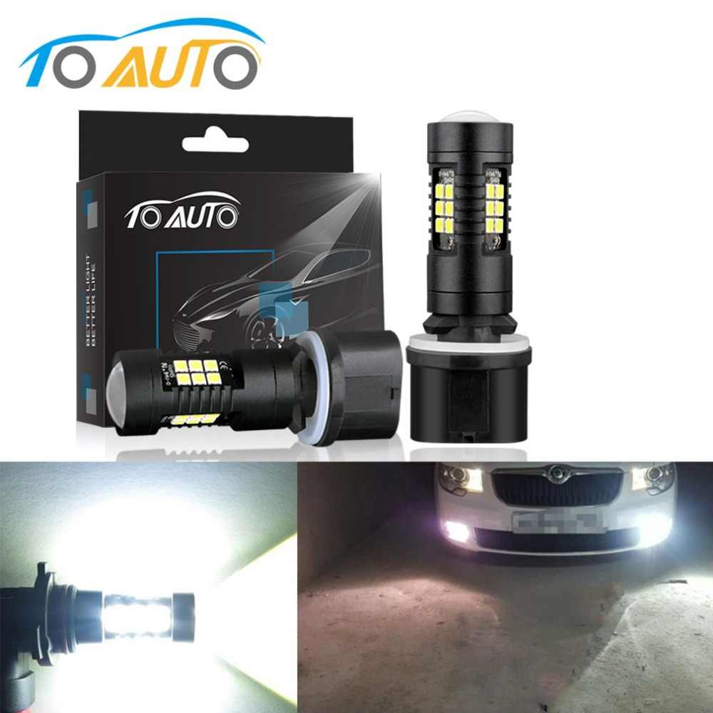 2Pcs H27 880 881 Led Bulb P13W PSX26W LED 1200LM 6000K White Car DRL Fog Light Driving Lamps 12V 24V Auto H27W/2 H27W/1