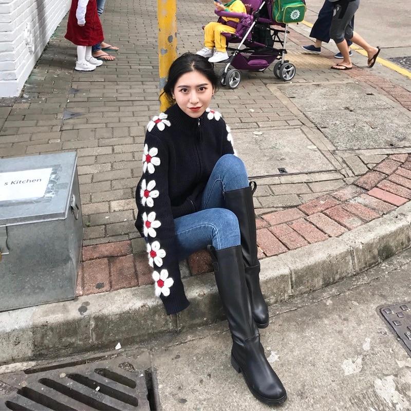 Hiver Broderie Chandail 2019 Fleur Court Haut Main Crochet Col Ligne Pull Épais Mince xY1wPq1Rd