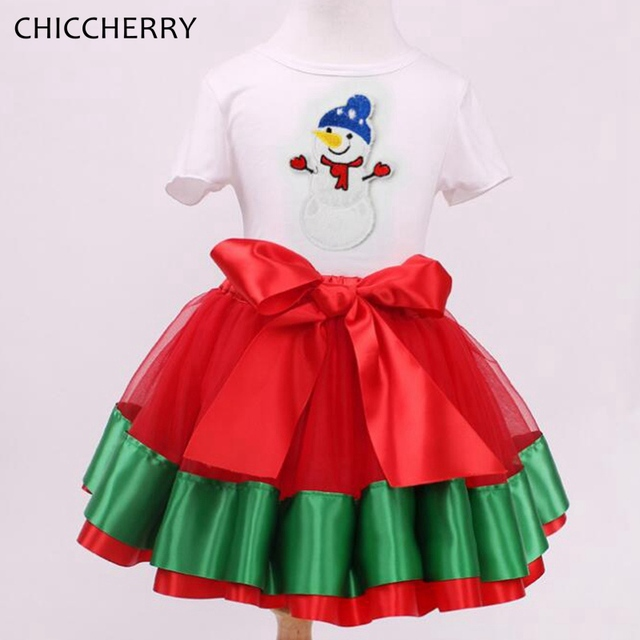 Snowman Christmas Costume for Girls Toddler Girls Lace Tutu Skirt & Top Set Red New Year Dress Vetement Fille Children Clothes
