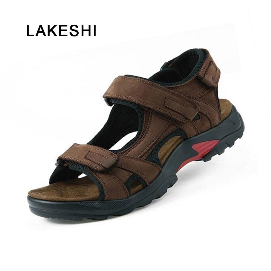 21dffd395db2d3 Summer Men Sandal 2018 Genuine leather Men Shoes Comfortable Outdoor Shoes  Fashion Flat Men Shoes Plus