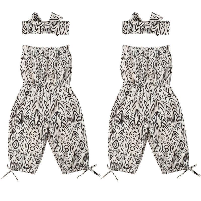 Модный комбинезон без рукавов для маленьких девочек, хлопковый комбинезон с повязкой с леопардовым принтом, летняя одежда