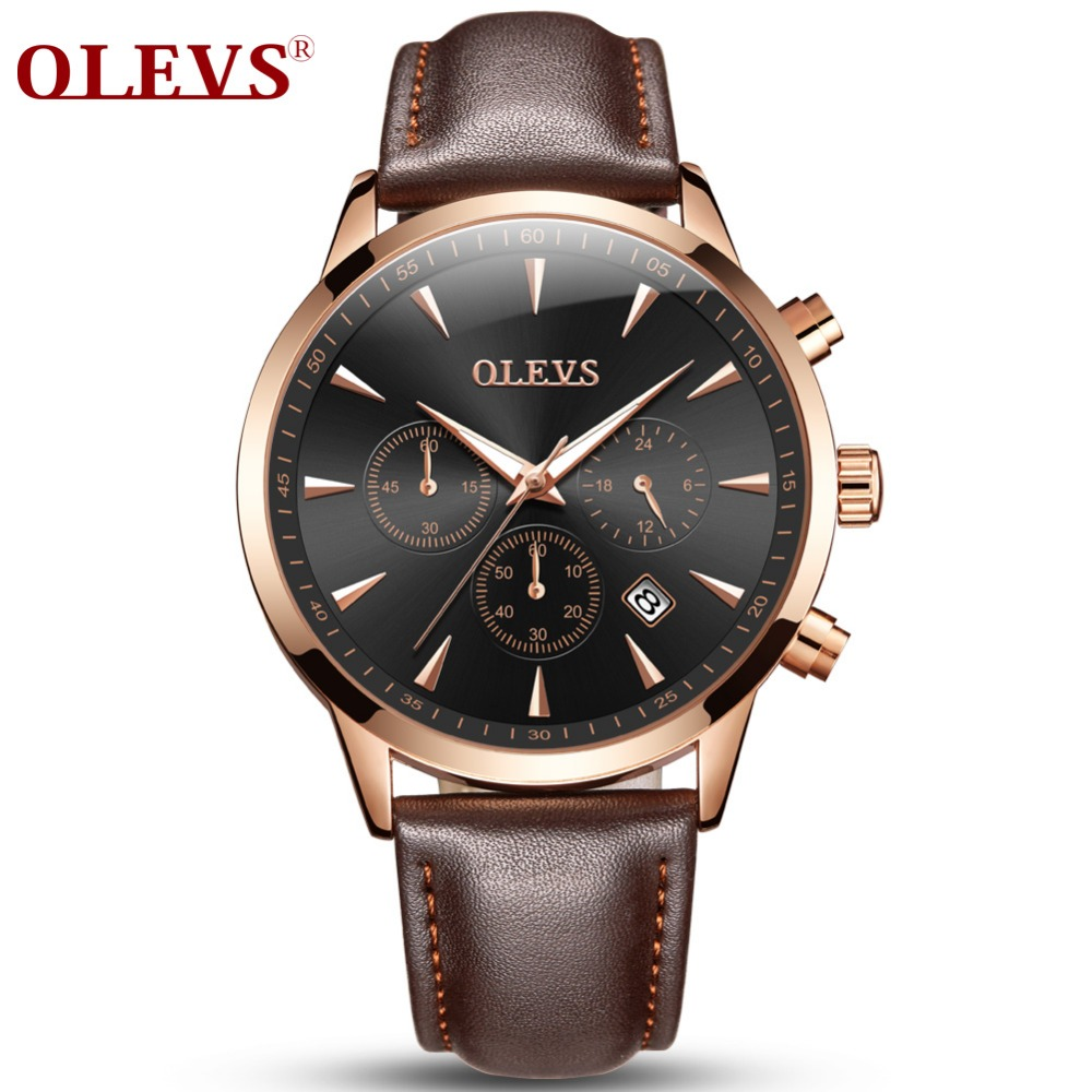 OLEVS Brand Luxury Watches Men Business Quartz Wristwatch Sports Genuine Leather Male Watch erkek kol saati relogio masculino relogio masculino men business watch leather wristwatch rose gold quartz watches mens 2018 ruimas classic clock erkek kol saati