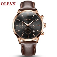 OLEVS Brand Luxury Watches Men Business Quartz Wristwatch Sports Genuine Leather Male Watch erkek kol saati relogio masculino