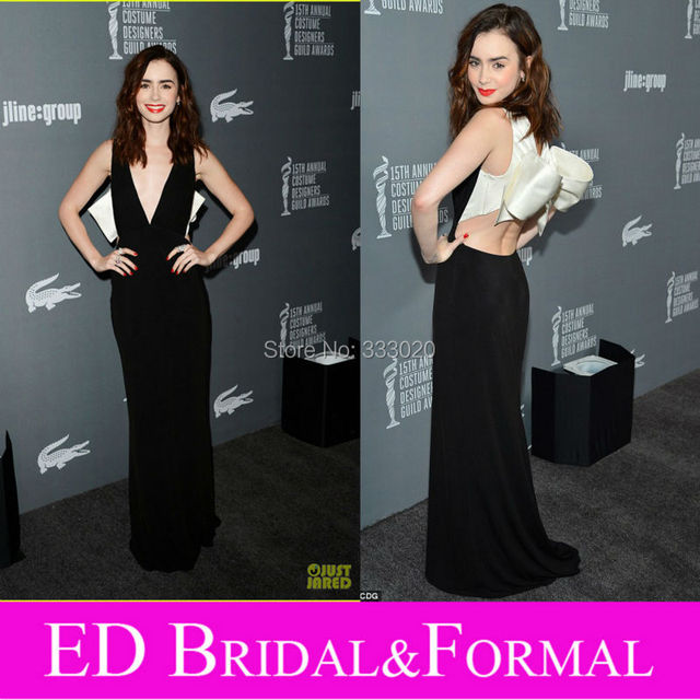 6bdd2a5b94a01 Lily Collins Open Back Prom Dress Sheath Long Fitted Plunging V Neck Black  and White Sexy Celebrity Evening Gown-in Celebrity-Inspired Dresses from ...
