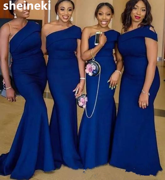 64d9fe8edfa African Simple Blue One Shoulder Mermaid Bridesmaid Dresses Sweep Train  Garden Country Wedding Guest Gowns Maid Of Honor Dress