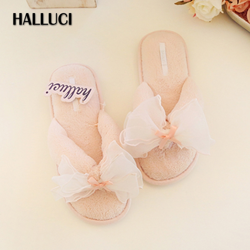 HALLUCI Sweet butterfly women shoes home slippers fluffy indoor flip flops coral fleece simple ladies summer house sandals halluci breathable sweet cotton candy color home slippers women shoes princess pink slides flip flops mules bedroom slippers
