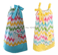 2015 Easter Day Baby Girl Dresses Toddler Easter Chevron Pillowcase Dress Baby First Easter Outfit