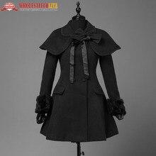 Для женщин S Осень Винтаж накидка Классический Лолита платье Trenchcoat элегантный женский, черный сладкий готическая лолита Стиль теплое зимнее пальто