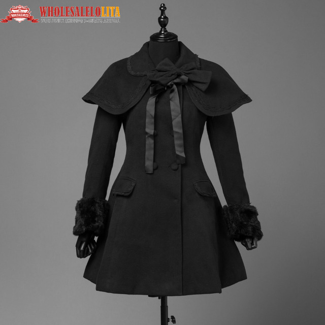 Womens Fall Vintage Cape Clic Dress Trenchcoat Elegant Women Black Sweet Gothic Style Warm