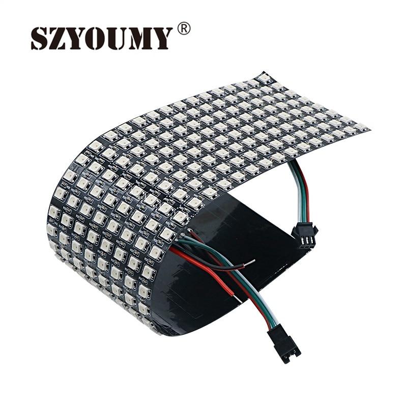 SZYOUMY WS2812B 5050 RGB SMD 8*32 Pixels Digital Flexible Dot Matrix Individually Addressable Led Display Screen 3 SIZE OPTION