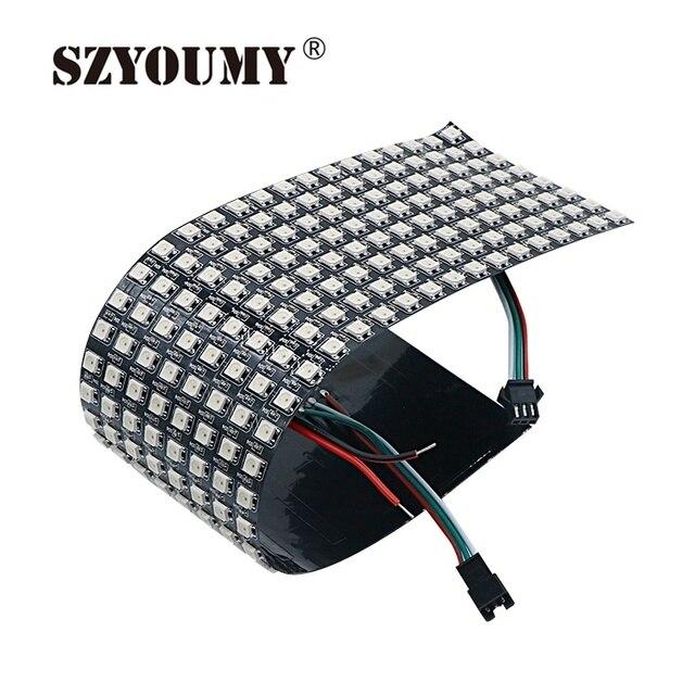 SZYOUMY WS2812B 5050 RGB SMD 8*32 פיקסלים דיגיטלי גמיש סיכות מיעון בנפרד led תצוגת מסך 3 גודל אפשרות