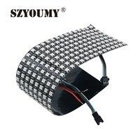 Szyoumy ws2812b 5050 rgb smd 8*32 pixels digital flexível dot matrix individualmente endereçável display led tela 3 opção de tamanho|Módulos de LED| |  -
