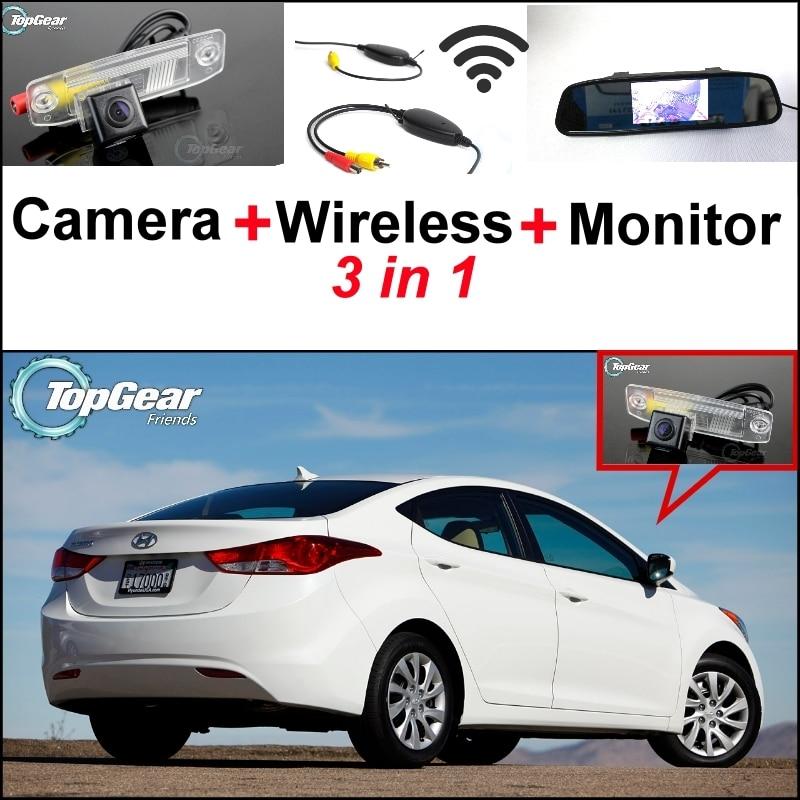 3 in1 Special Rear View Camera + Wireless Receiver + Mirror Monitor DIY Parking System For Hyundai Avante XD HD MD UD цены