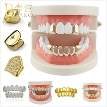 цена на BOAKO Rapper Top Bottom Dental Grills Hip Hop Men Grillz Single Tooth Grillz Cap Man Gold Teeth Grillz Caps Punk Jewelry Z5