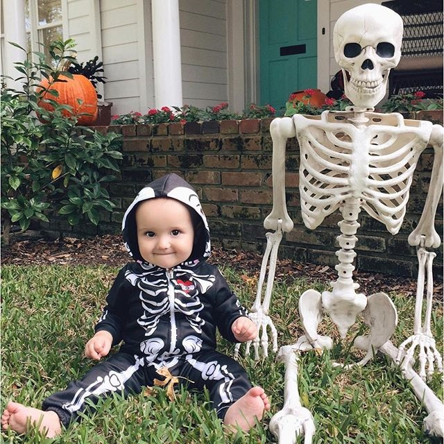 ff1f6d64f Infant Unisex Baby Girl Boy Skeleton Hooded Zipper Rompers Babies ...