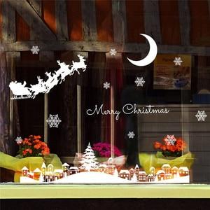 Image 4 - السنة الجديدة ملصقات عيد الميلاد للنوافذ مطعم مول الديكور الثلوج الزجاج نافذة للإزالة عيد الميلاد زخرفة #3o24
