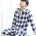 100% algodão plus size conjuntos de pijama dos homens set lounge 2017 primavera e no outono-manga longa masculino sleepwear moda grande 3XL 4XL