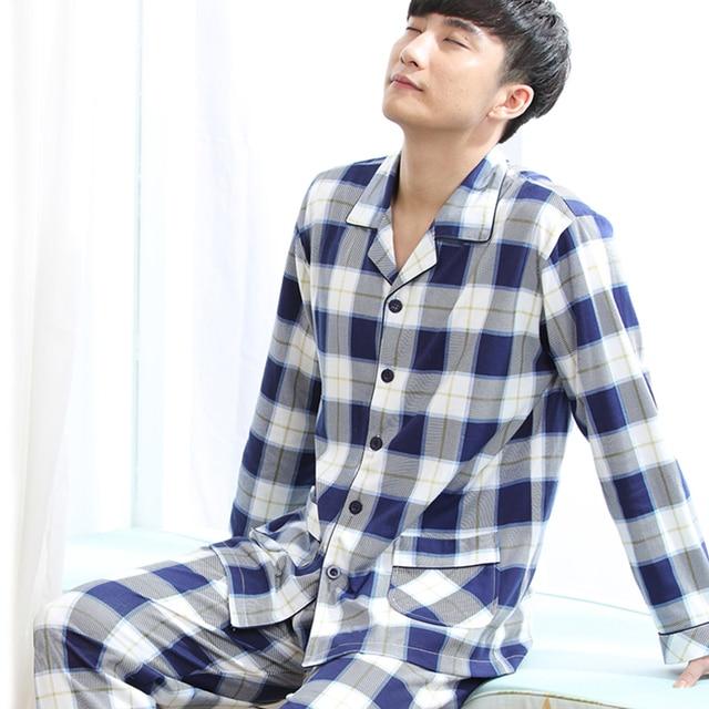 100% cotton plus size pajama sets men lounge set 2017 spring and autumn long-sleeve male sleepwear fashion large 3XL 4XL