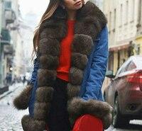 Леди джинсовая куртка пальто с натуральным лисьим мехом воротник обрезки отделка манжеты 2018 Модная одежда; Бесплатная доставка Большие раз
