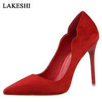 Bombas de las mujeres Tacones Altos Casuales Señaló Dedo Del Pie Zapatos de Las Señoras Flock Fashion Women Shoes Tacones Hight 10.5 cm