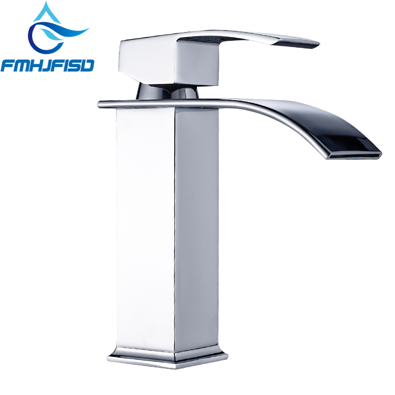 Basin Vanity Sink Faucet Waterfall Single Handle Bathroom Mixer Tap Faucet Deck Mounted Free Shipping single handle golden swan faucet bathroom basin faucet vanity sink mixer tap